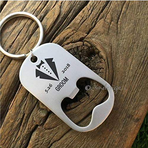 Personalized Groom Bottle Opener Keychain- Gift Idea For Future Husband Men