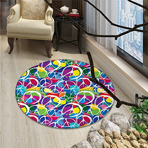 Retro Round Rugs for Bedroom Universal Peace Sign Symbol on Colorful Pop Art Style Background Antiwar Activism ThemeOriental Floor and Carpets Multi