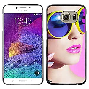 Smartphone Rígido Protección única Imagen Carcasa Funda Tapa Skin Case Para Samsung Galaxy S6 SM-G920 stil devushka makiyazh ochki / STRONG
