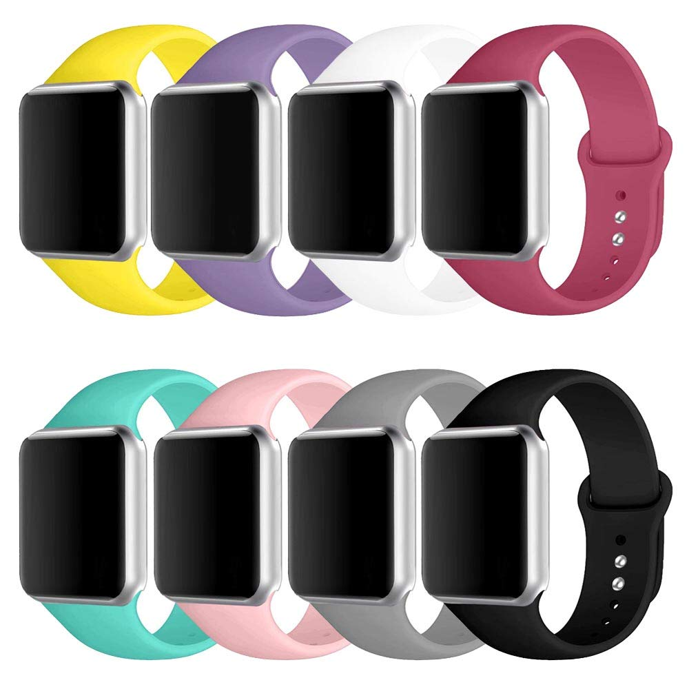 Winso Soft Silicone Sport Strap Compatible i-Watch Band 38mm 40mm 42mm 44mm S/M M/L for Series 4/3/2/1 (Colourful 8pack, 42(44) mm M/L)