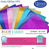 Holographic Glitter Heat Transfer Vinyl Sheets Bundle 6 Different Color and 2 Sheets Per Color-Best Iron On HTV Vinyl for Silhouette Cameo & Cricut Machines (Silver,Gold, Purple, Pink, Blue,Turquoise)