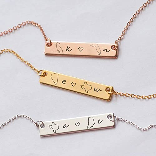 Colorado Necklace Colorado State Silhouette Long Distance Relationship Couples Necklace Best friends Necklace Colorado State Map charm