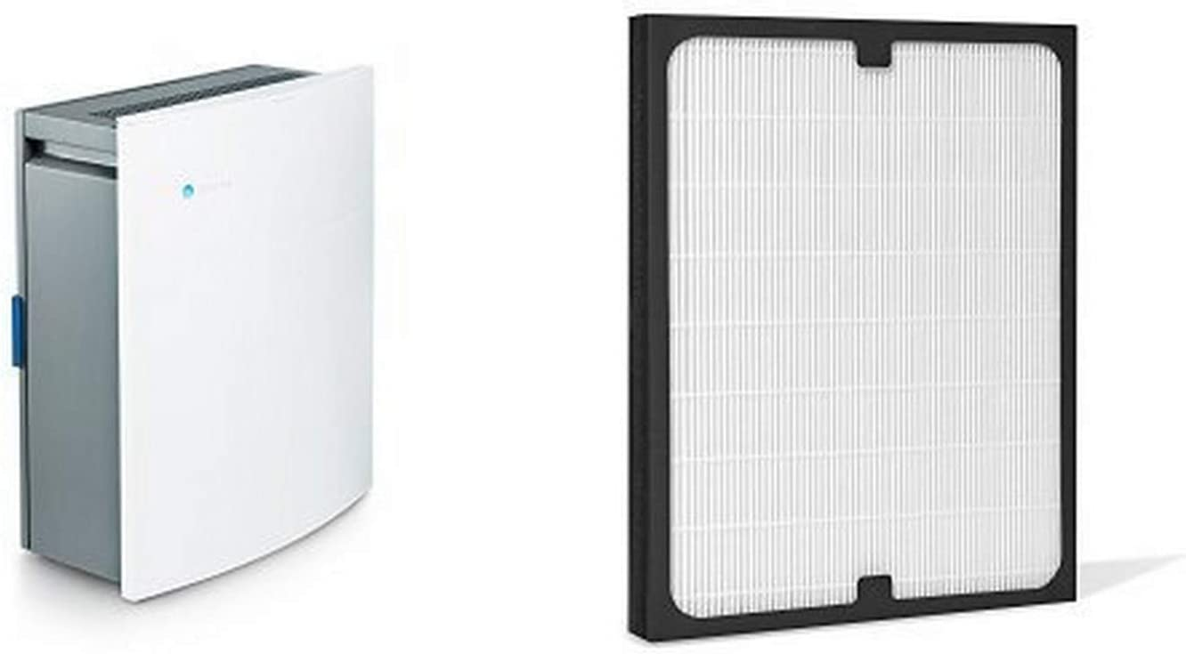Blueair Classic 205 Air Purifier with HEPASilent Filtration for Allergen Reduction, Small Rooms 279 sq. ft. WiFi Enabled, ALEXA compatible & Blueair 200/300 Series Particle Replacement Filter