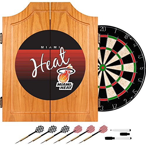 NBA Miami Heat Wood Dart Cabinet, One Size, Brown by Trademark Global