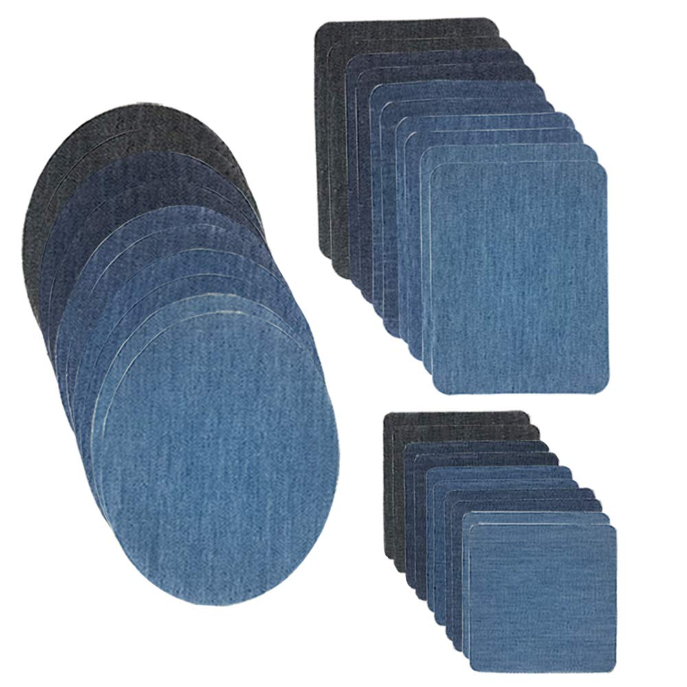 ISPEEDY Iron on Denim Patches 24 Pieces Fabric Patches for Clothing Jeans, Iron-on Repair Patches Kit, 4.9'x3.74', 6 Dark Color 4.9x3.74