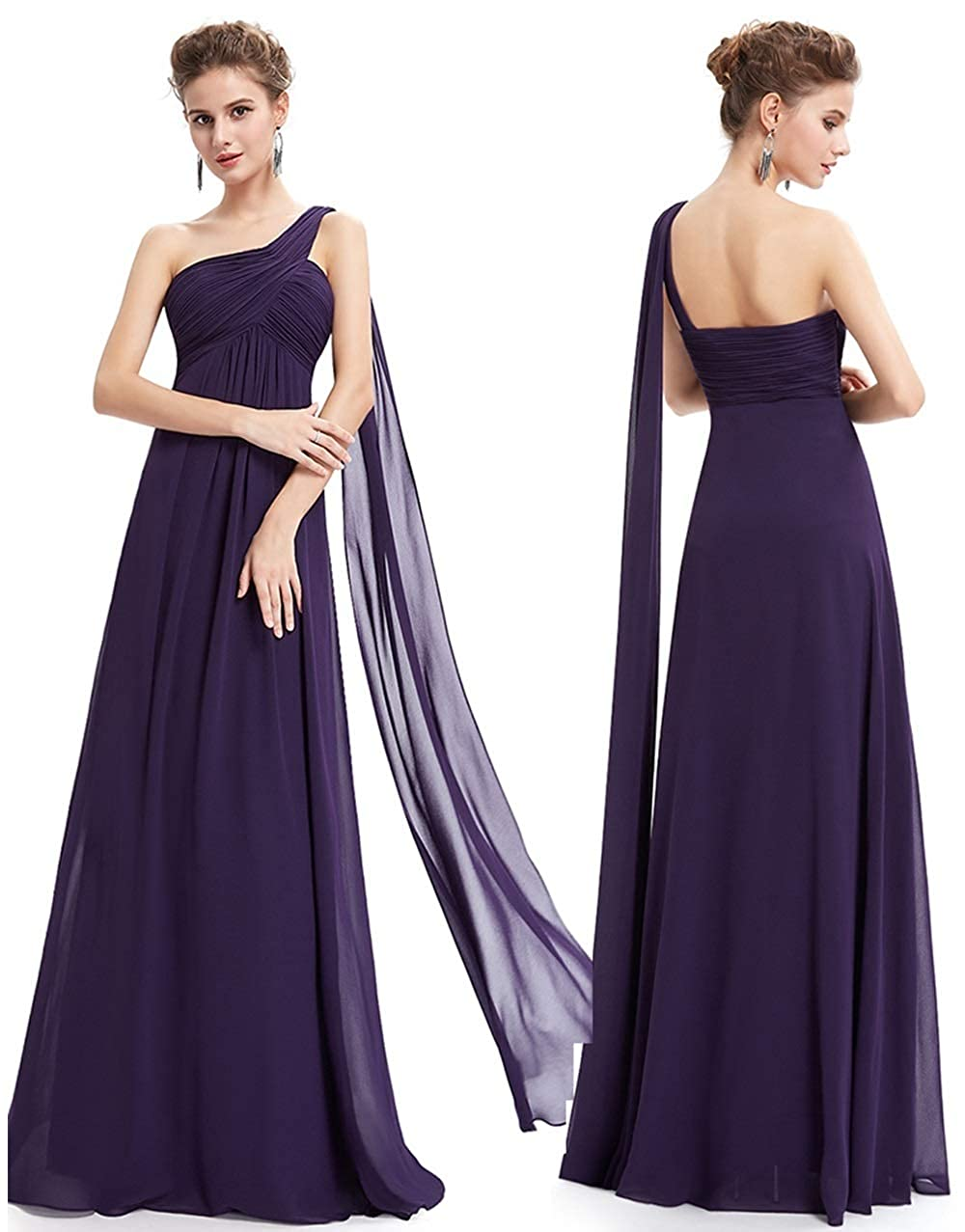 violet XL NJU Belle Mousseline de Soie fraîche Jupe Longue Demoiselle d'honneur Soeur Jupe Robe de soirée de Grande Taille