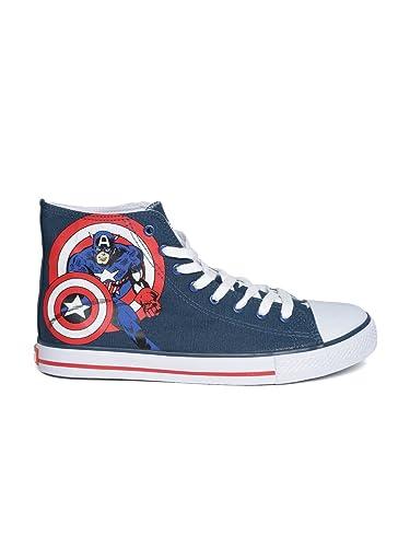 84704492c24b Kook N Keech Marvel Unisex Navy Printed Sneakers (6UK): Buy Online ...
