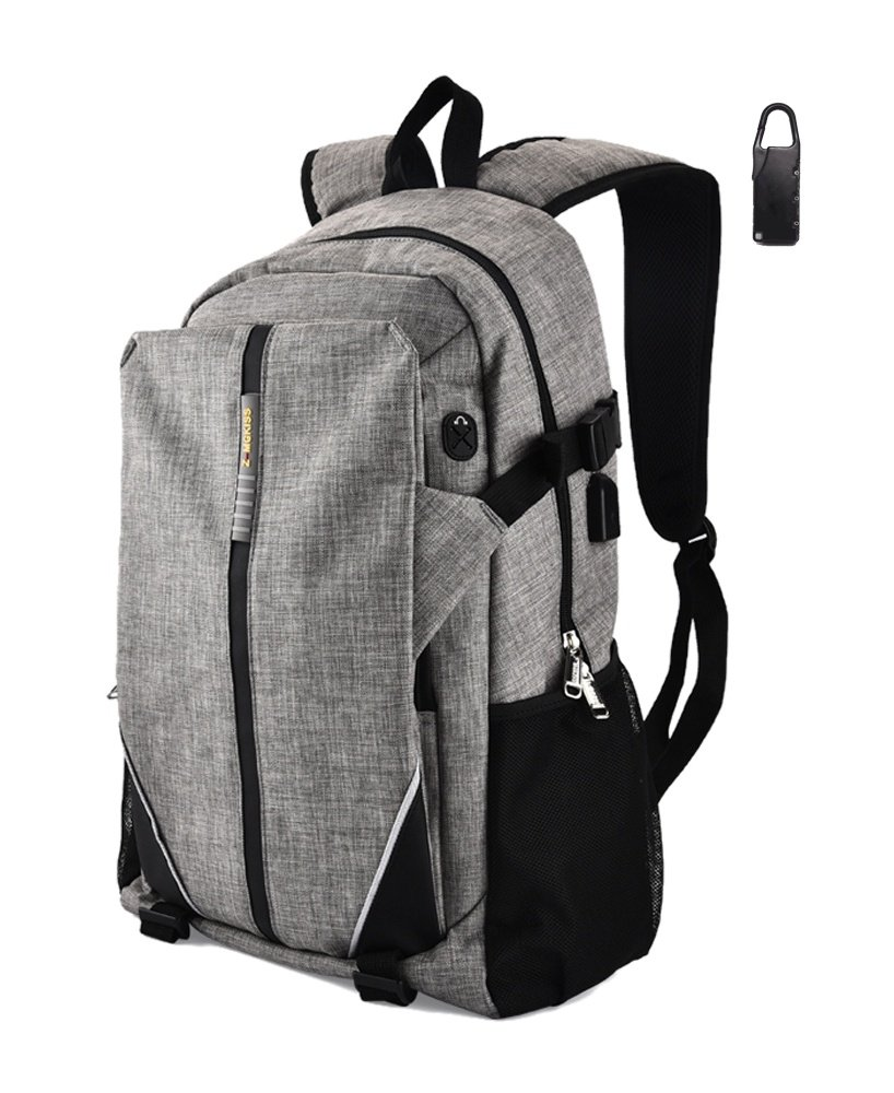 Travel Laptop Backpack,Business Backpack,Oxford Cloth with USB Charging Port ,Fits Under 17-Inch Laptop & Notebook,Gray(COS-002)