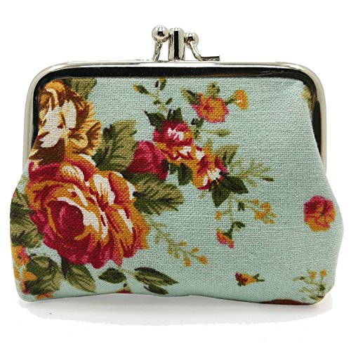 (Cute Floral Buckle Coin Purses Vintage Pouch Kiss-lock Change Purse Wallets (20))