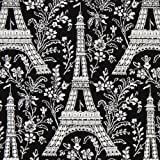 black Michael Miller fabric Eiffel Tower with flowers (per 0.5 yard multiple)