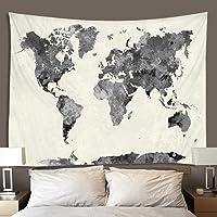 Tapiz mapa colgante de pared mapa negro tapiz acuarela mapa del mundo tapiz mapa tela colgante dormitorio sala de estar…