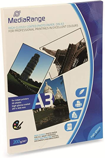 MediaRange MRINK109 - Papel fotográfico (A3, 297 x 400 mm, 200 g/m², 50 hojas): Amazon.es: Oficina y papelería