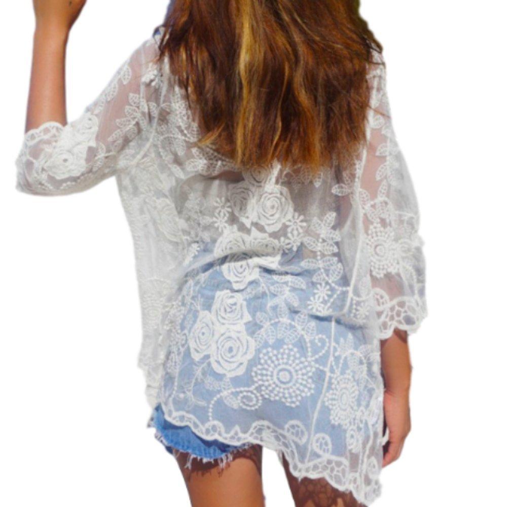 Moon Market Women New Casual Beach Flower Lace Shirt Kimono Cover up (White)