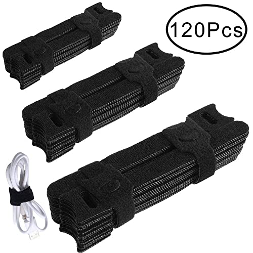Outee 120 Pcs Cable Straps Cable Ties Reusable 7/6/5 Inch Fastening Wire Organizer Cord Rope Holder for Home Office