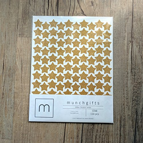 Non Shed Star Glitter Stickers Set (1 inch - 110 pcs, Gold)