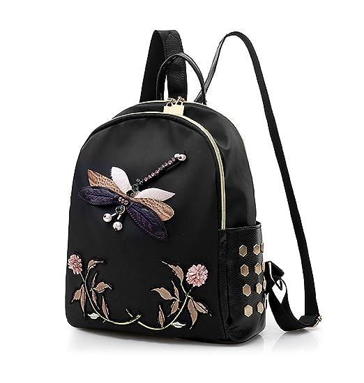 YSMYWM Women Dragonfly Embroidered Backpack Travel Daypack Girls School Bag  Shoulder Bag Rucksack (Style 01 adb2dd4956