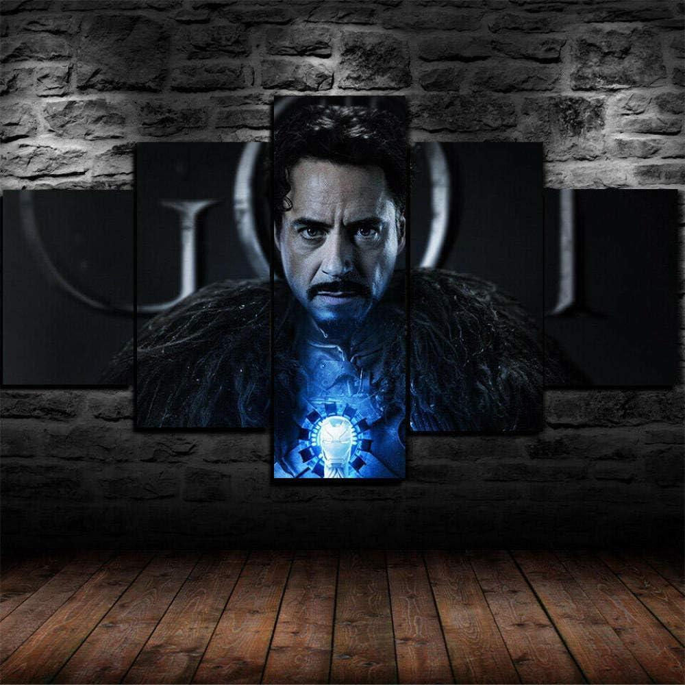 CHENDA Impresiones sobre Lienzo Modular Decoración De Pared Póster 5 Piezas Cuadro Iron Man Juego de Tronos-150 * 80cm-Marco