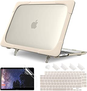 Batianda for MacBook Air 13 inch Case A2337 M1 A2179 A1932 (2020 2019 2018 Release) with Touch ID, Heavy Duty Shockproof Hard Shell Case with Fold Kickstand & Keyboard Cover, Khaki