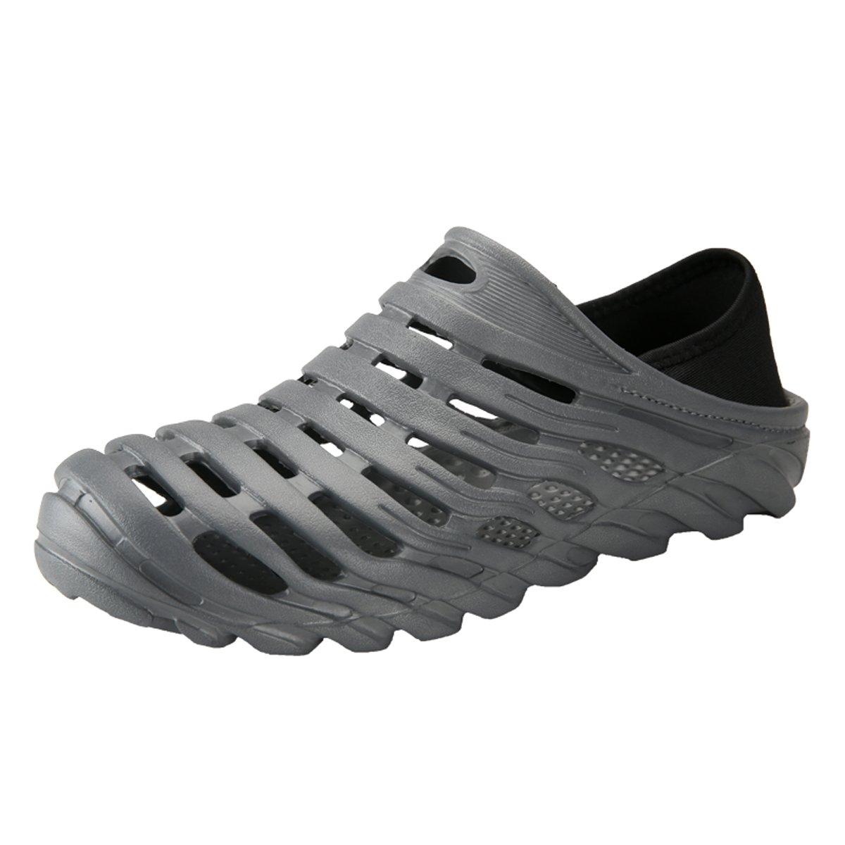 RARKOR Garden Shoes Men's Ultralight Hollow Summer Aqua Breathable Comfort Slippers Outdoor Unisex Water Shoes Grey 43