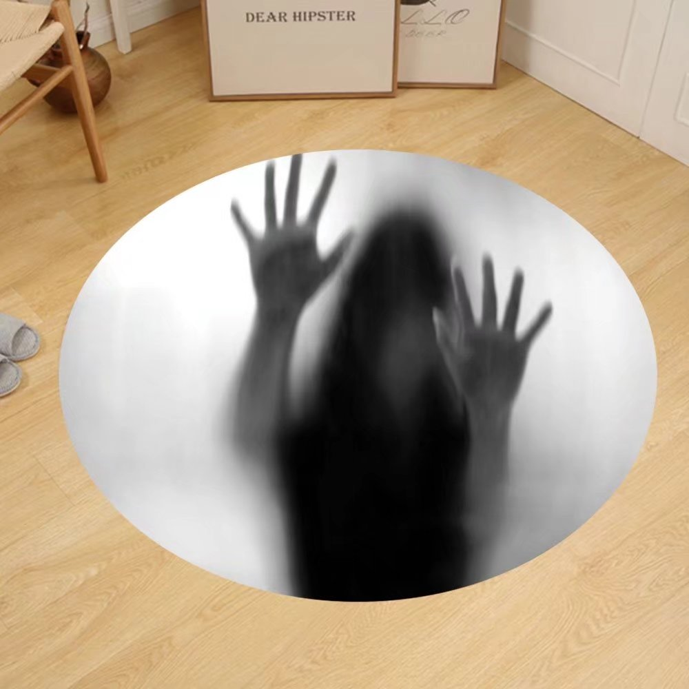 Gzhihine Custom round floor mat Horror House Decor Silhouette of Woman behind the Veil Scared to Death Obscured Paranormal Photo Bedroom Living Room Dorm Gray