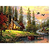 Blxecky 5D DIY Diamond Painting By Number Kits,Evening scenery(22X14inch/55X36CM)