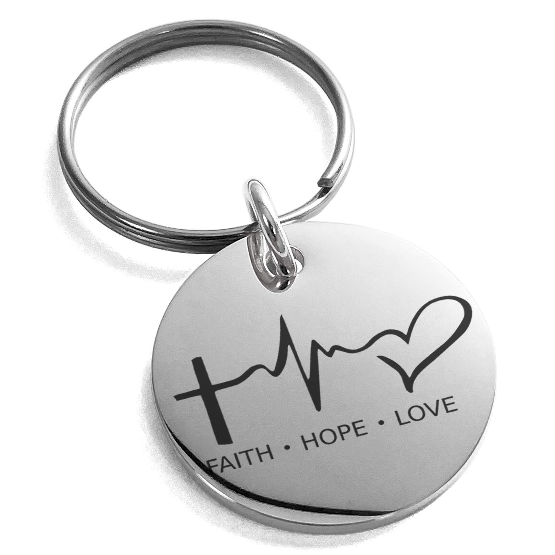 Tioneer Stainless Steel Faith Hope Love Lifeline Engraved Small Medallion Circle Charm Keychain Keyring