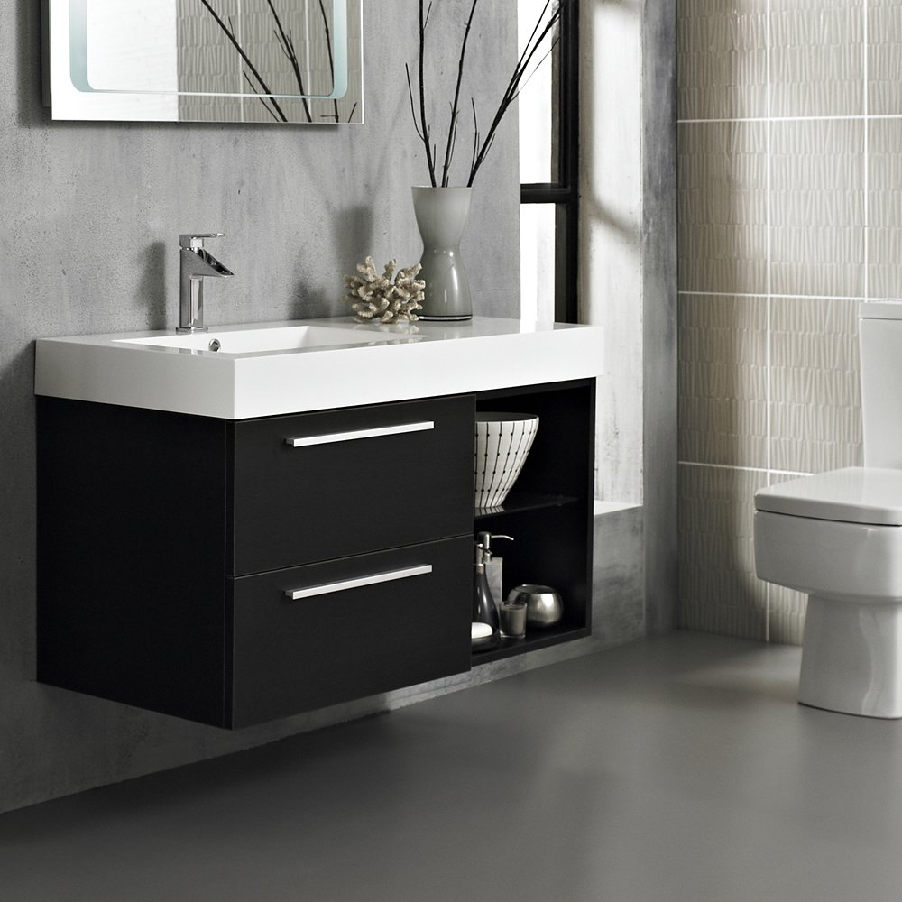 Hudson reed bathroom cabinets - Hudson Reed Console Wall Mounted 1000mm Wide Wenge Finish Bathroom Vanity Unit With One Tap Hole Gel Coated Resin Basin Sink 2 Soft Closing Drawers And