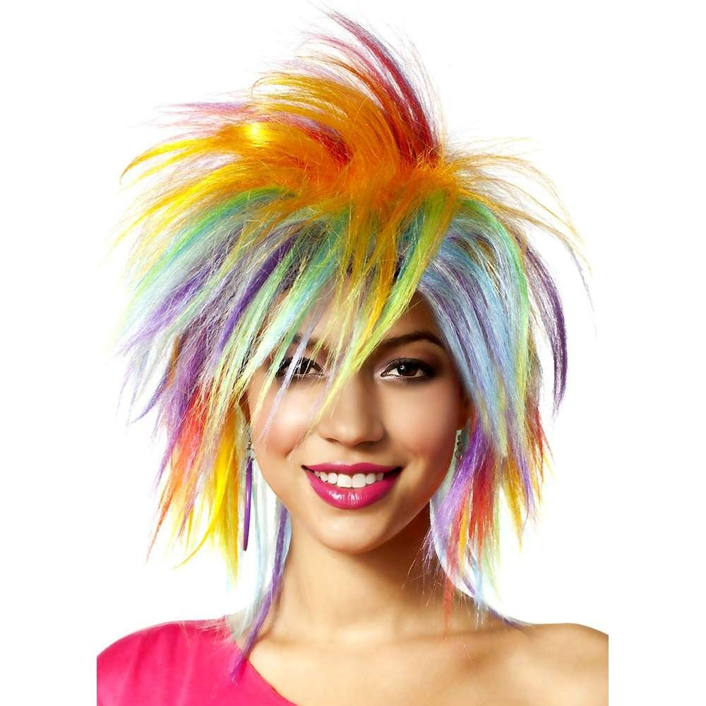 Goddessey 37008-RBW 80S Funky Fresh peluca - Rainbow