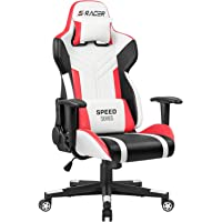 Homall Gaming Chair Racing Office Chair High Back PU Leather Computer Desk Chair Executive and Ergonomic Swivel Chair with Headrest and Lumbar Support