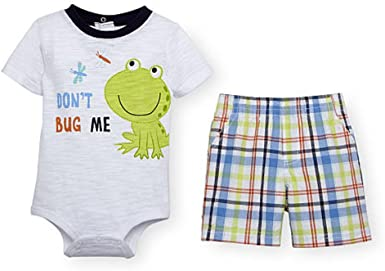 Koala Baby Boys 2 Piece Top and Plaid Shorts Set