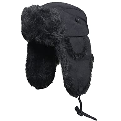 Nordic Faux Fur and Black Canvas Ushanka Style Hat (55 cm)  Amazon ... a817c29aa12