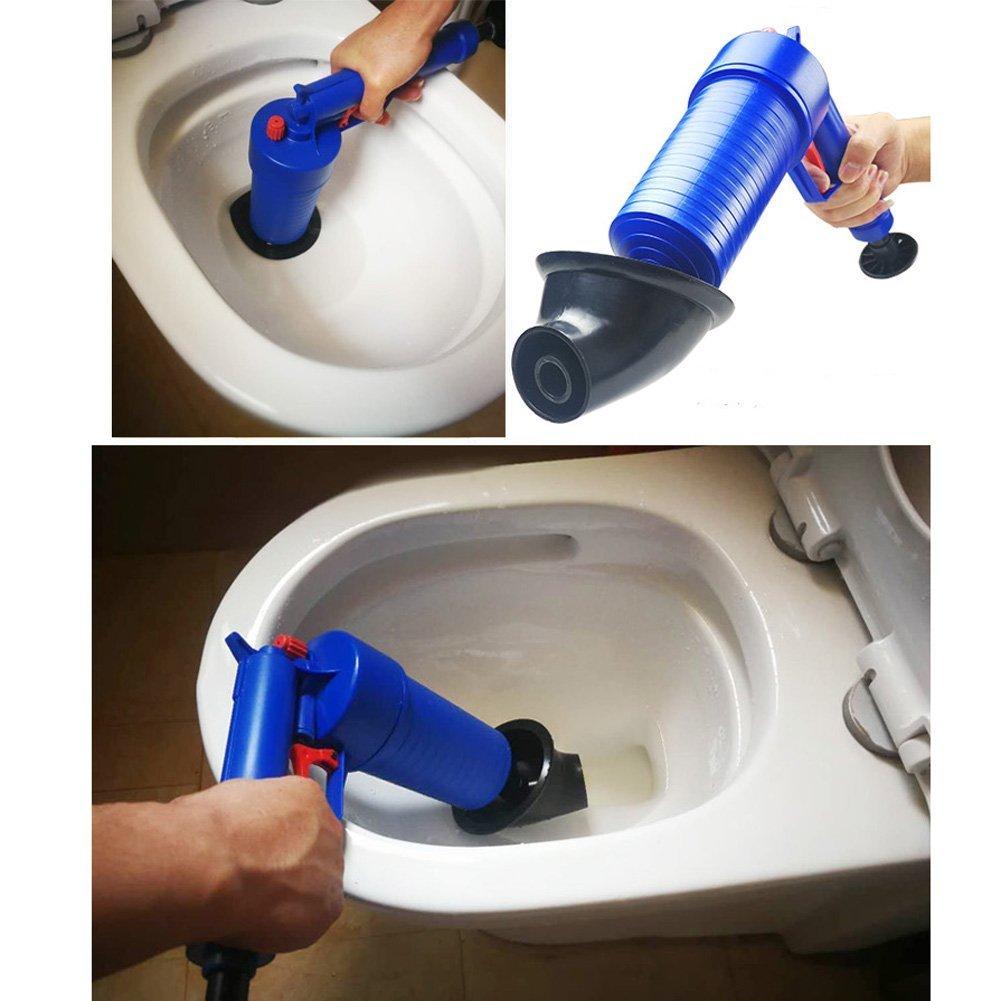 High Pressure Powerful drain clog remover sink Plunger Opener cleaner pump for Bath Toilets Bathroom Drain blaster air Powered plunger gun kitchen Clogged Pipe Bathtub blue Shower