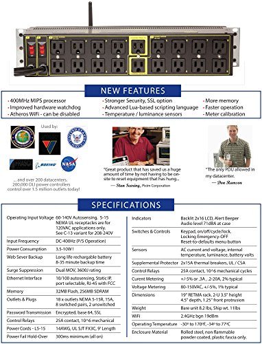 Dual Input Datacenter PDU - 2 Inputs, 8 Circuits, 16 Switched Outlets, 2 Un-switched, Surge Protection, Full Web Remote Control, Power, Current and Voltage Metering, WiFi, HTTPS, SSH, Lua Scripting & more by DLI Ethernet Power Controller (Image #7)