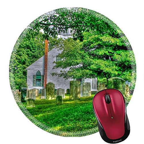 Liili Round Mouse Pad Natural Rubber Mousepad Green cemetery Photo 14356086 ()