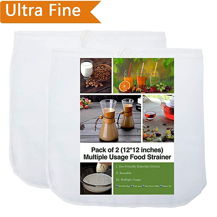 "2 Pack - 80 Micron Nut Milk Bag - 12""X12"" - Multiple Usage Reusable Food Strainer, Cold Brew Coffee Bag Cheesecloth, Food Grade Nylon Mesh, Filter For Almond/Soy Milk, Fruit Juice, Coffee and Tea"