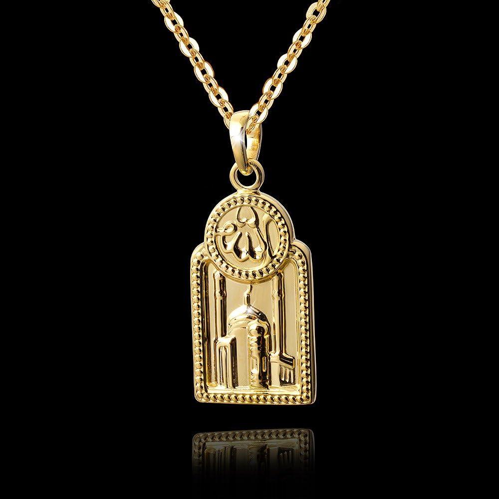 Materia Pendentif pour homme en argent 925 plaqu/é or Coran Mosqu/ée Islam #KA-354