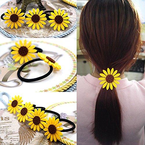 BLagenertJ 5Pcs Blooming Sunflower High Elastic Hair Ties Bands Rope Rings Ponytail Holders Girls Women