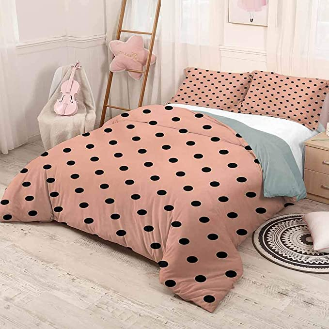 amazon com prunushome peach three piece bed duvet cover traditional black polka dots on soft colored background abstract european design lightweight all season bedspread peach black full size home kitchen amazon com