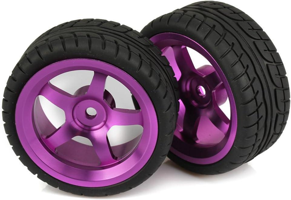 Mxfans Durable RC 1:10 On-Road Racing Car Plastic Drift Tires with Purple Aluminum Alloy 5-Spoke Wheel Rim Set of 4