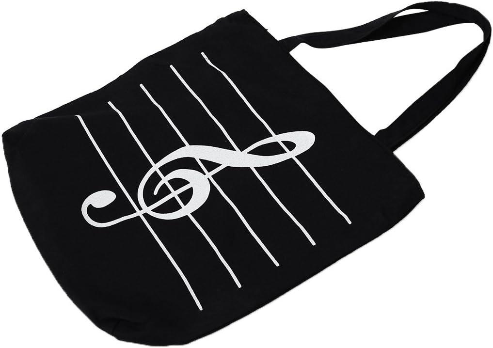 TOOGOO 女性ガールズ カジュアルキャンバス音楽ノート サッチェルトートショッパーバッグ ショルダーバッグ ブラックカラー