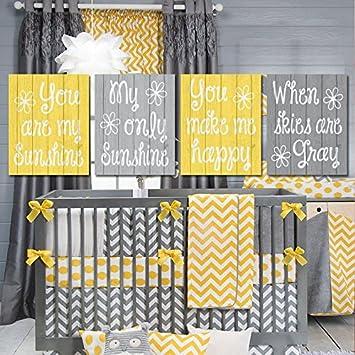 Amazon.de: canvas print Leinwandbild Gelb Grau Kinderzimmer You Are ...