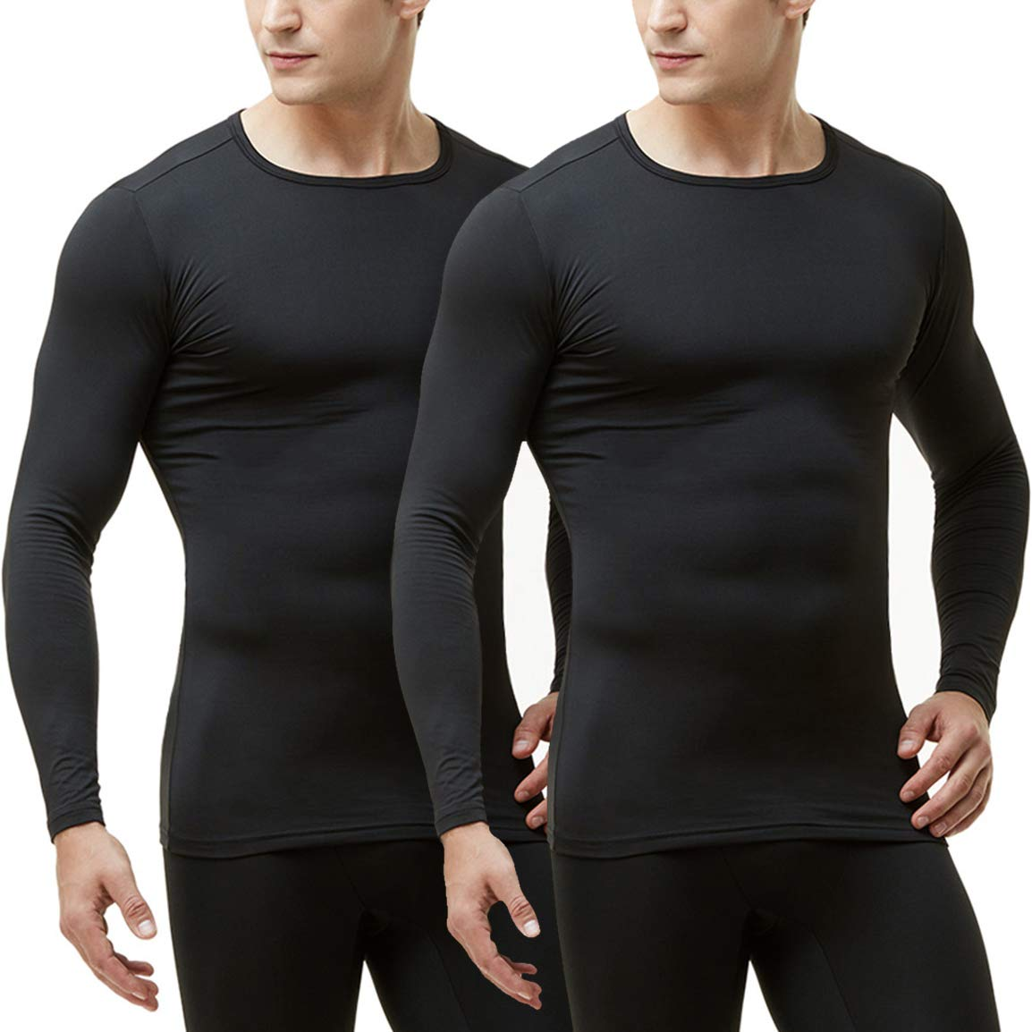 TSLA Men's (Pack of 2) Microfiber Fleece Lined Thermal Winter Top, 2pack(mht102) - Black, Large by TSLA