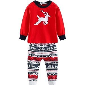 c71cbb6bc9ae7 Baywell Ensemble de Pyjamas de Noël Assortis Famille Fawn Deer Vêtements de  Nuit Noel Ensemble Pyjama