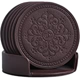 Coasters Set,Classic Pattern Faux Leather Coaster Set of 6 with Holder Protect Furniture by Happydavid (brown round)