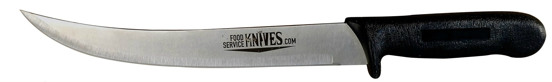 "10"" Breaking / Butcher Cimiter Curved Blade Black Handle Food Service Knives"