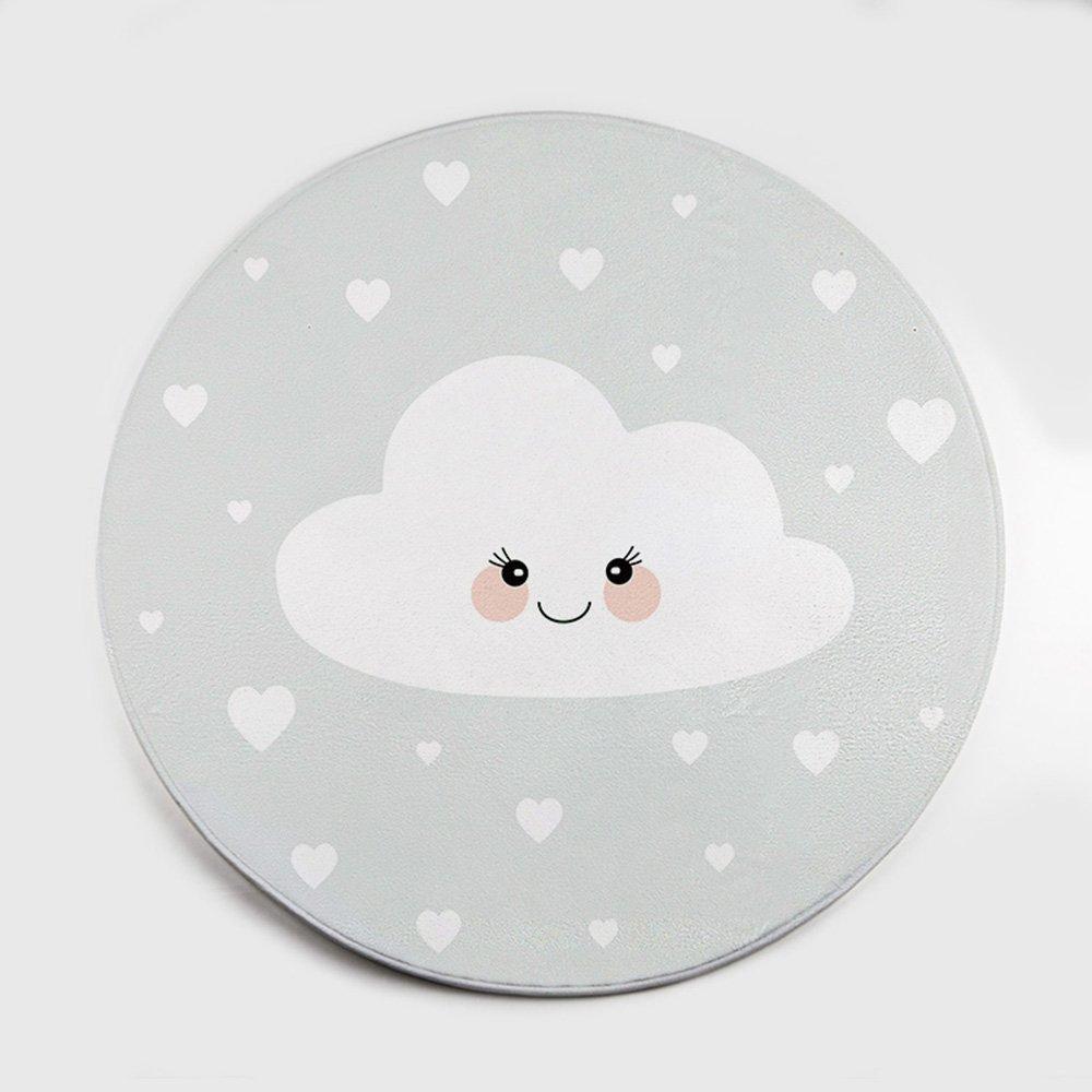 TTUP Teppich, rund, Wolken-Größe, optional, für Wohnzimmer, Schlafzimmer, Computer-Pad, superweicher Teppich (Muster: 3, Größe: 80 cm), Polypropylen, 100  100cm