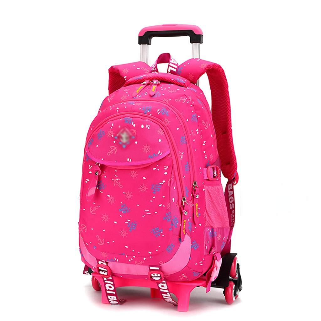 XHHWZB キッズバックパック トロリーバッグ 男の子 女の子 スクールバッグ 子供用バックパック キャスター付きローリングバックパック B07HH7D2M7 ローズレッド