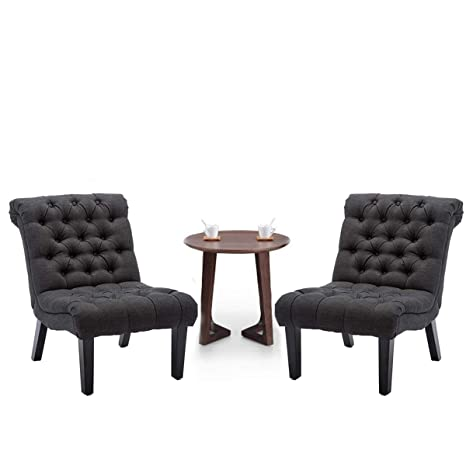 YongQiang Set of 2 Accent Chairs for Living Room Bedroom Upholstered Tufted  Button Modern Lounge Chair with Wood Legs Gray