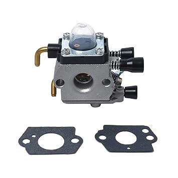 UKCOCO Cortacésped de Repuesto Carburador Carb para Stihl FS38 FS45 FS46 FS55 FS74 FS75 FS76 FS80 FS85 KM55R - 41401200619 Plata