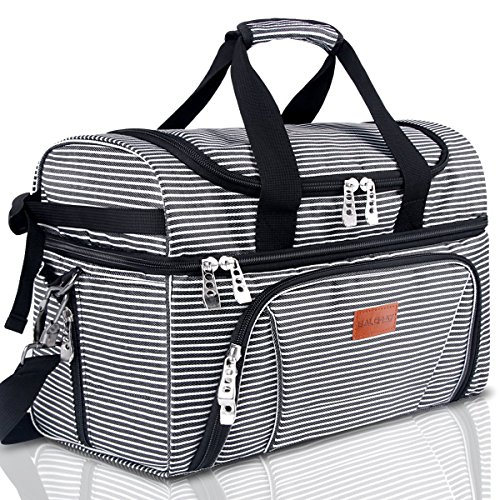 BALORAY Lunch Bag for Women Men Large Insulated Leak-proof Water-Resistant Thermal Bento Bag for Office Picnic Beach Travel Camping-Black (G-217Black&White Strip) (Striped Cooler)